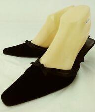 Ann Taylor Womens Heels Mules US 8.5 M Black Leather Velvet Slip-on kitten 5199