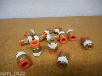 SMC 3/8 NPT X 3/8 Tubing Straight Connectors New (Lot of 13)