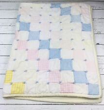 Vintage Pink Yellow Patchwork Hand Tied Quilt Baby Lap Crib Blanket 46X36