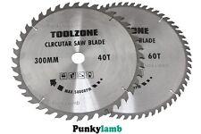 2 Pc 300mm x 30mm Bore TCT Circular Saw Blades 40 and 60 Teeth Hardwood Softwood