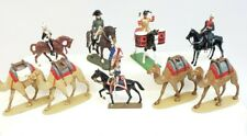 Lot of 9 mounted, toy soldiers & Camels, 54mm lead, Britains, etc. vintage