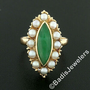 Vintage 14K Yellow Gold Marquise Cabochon Jade Pearl Halo Navette Cocktail Ring
