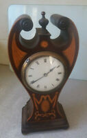 ATTRACTIVE ANTIQUE WOODEN INLAID BALLOON / ANGEL WING  MANTEL CLOCK - 11 INCHES