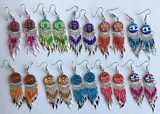 5 pairs colorful round ceramic long earrings Peruvian alpaca silver