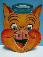 """VINTAGE 1940's HALLOWEEN """"FIDDLER PIG"""" CARDBOARD MASK - DISNEY's- 3 LITTLE PIGS"""