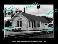 OLD POSTCARD SIZE PHOTO OF DALTON MINNESOTA THE RAILROAD DEPOT STATION c1960