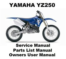 YAMAHA YZ250 Owners Workshop Service Repair Parts List Manual PDF on CD-R YZ 250