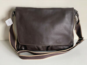 NEW! COACH BROWN HERITAGE WEB LEATHER CROSSBODY SLING MESSENGER BAG $398 SALE