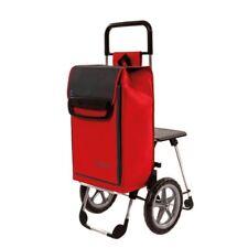 Einkaufshilfe mit ausklappbarem Sitz und Kühlfach Trolley rot-schwarz