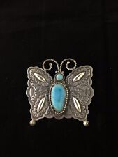 Herman Smith, Navajo, Sterling Silver And Turquoise Butterfly Pendant #688