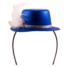MINI TOP HAT HEADBAND BLUE METALLIC WITH FEATHER