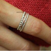 Solid 925 Sterling Silver Band Ring Meditation Ring Statement Ring Size SR656