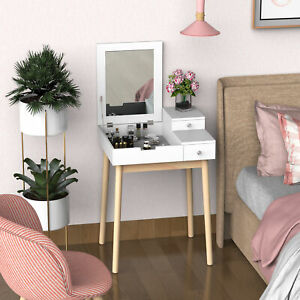 Dressing Table Desk Flip-up Mirror Multi-purpose 2 Drawers Makeup Bedroom White