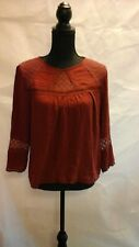 BNWT 'Forever 21' Rust Brown Long Sleeve lace insert Blouse Size M