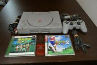 Sony PlayStation 1 PS1 (SCPH-7500) Console With Memory card+minna no golf 1&2