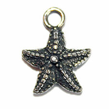 ANTIQUED PEWTER SILVER JEWELRY STAR FISH CHARM 15X12MM 4 CHARMS PC38
