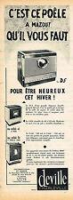PUBLICITE ADVERTISING 015  1960   DEVILLE  poele à mazout