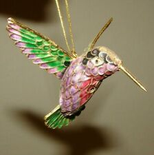 New ListingVintage Hummingbird With Gold Beak Porcelain Cloisonne Style Ornament 3""