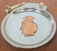 New listing Chrome Tray With Gold Toned Golf Club & Golf Ball- Brass Golf Bag Coin Key Tray