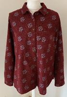 Womens White Stuff Burgundy Blue Leaf Cord Shirt UK 14