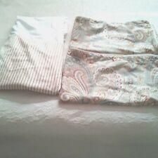 Savannah Home Rust/Ivory Striped Tailored King Bed Skirt/Paisley Shams-2