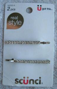 2 Scunci Real Style Diamond Gems Bobbies Bobby Slide Hair Pins Jewel Sparkle