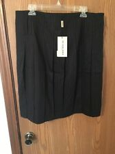 NEW BURBERRY London Grey Wool Pleated Skirt USA SZ 14, UK 16 NWT Black Pinstripe