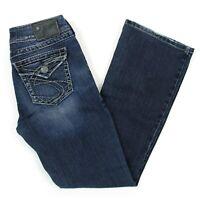 Womens Silver Suki Surplus Boot Cut Jeans Sz 27 x 30 (27 x 29) Curvy Denim Blue