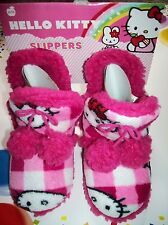 Hello Kitty Slippers Girls Boot Type Faux Fur Pile Lined PomPom Pink Check NWT