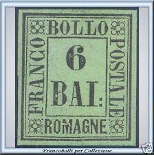 1859 Antichi Stati Romagne 6 baj verde giall n. 7 Nuovo