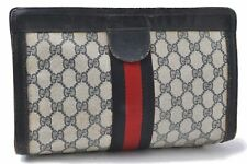 Authentic GUCCI Sherry Line Clutch Bag GG PVC Leather Navy A7925