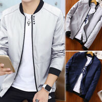 Mens Fashion Korean Zipper Jacket Slim Collar Coat Overcoat Warm Casual Outwear