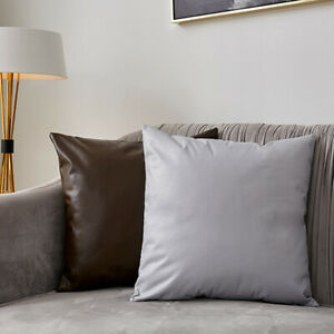 PU Faux Leather Cushion Cover Sofa Throw Pillow Case Solid Color Square Durable