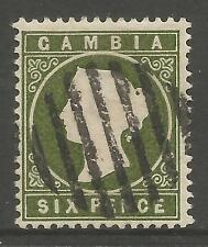 GAMBIA. 1886. 6d Amarillento Verde oliva SG: 32. Fino Usado Mute Oblitorator