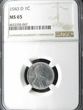 1943 D LINCOLN WHEAT STEEL CENT PENNY NGC CERTIFIED MS 65