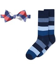 $125 Bar Iii Mens Check Red Blue White Adjustable Bowtie Striped Socks Gift Set