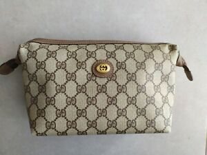 Vintage Gucci Brown GG Monogram Pouch Toiletry Bag Cosmetic Case