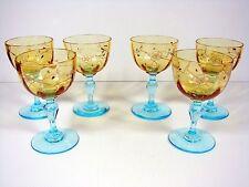 6 anciens verres vin George Sand verre émaillé, décor fleurs, TBE