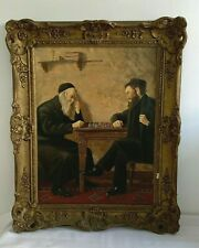 "Antiguo Kohler óleo sobre lienzo ""The Chess Players 'judío rabino estudiosos Enmarcado"