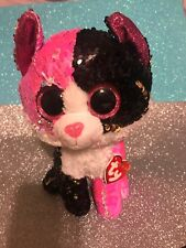 Ty Flippables: Pink/Black/White/Gold Sequined Cat Malibu 10�