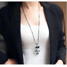 Women Fashion Long Dress Chain Crystal Rhinestone Owl Charm Pendant Necklace HOT
