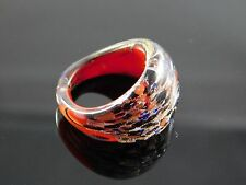 Lovely Murano Glass Silver Foiled Lampwork Handmade Multicolor Ring US 7.75""