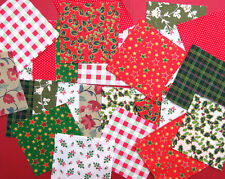 Xmas Fabric patchwork squares 4 x 4 ins(10cms).Packs of 25,Traditional colours