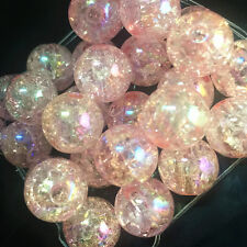 10pcs pink Crackle Glass Round 12mm Beads Jewelry Findings Craft Bead Supply