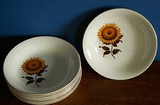 """A set of 8 Barratts Delphatic white Ironstone 8"""" soup bowls in Sunflower Pattern"""