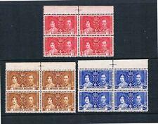 Leeward Is - 1937 QEII Coronation - Center-Line Blks/4 SC100-102 [SG 92-94] MNH