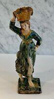 Early Antique Lady Grape Basket Figure Faience Majolica Prattware Whieldon 19thC