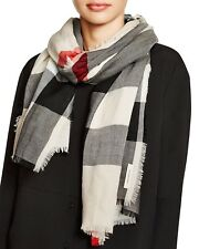 Burberry sheer mega check scarf in stone check - $395
