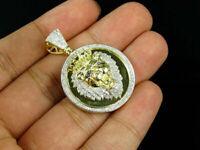 10K Yellow Gold Over 2.00 CT Diamond Lion Head Medallion Pendant Pave Charm