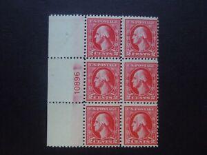 1920 #526 2c Washington Plate Block of 6 Type IV Perf 11 MNH OG F/VF SCV $450 #1